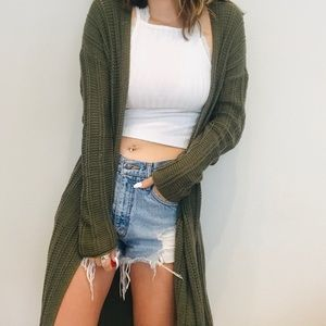 Pacsun LA Hearts green floorduster cardigan